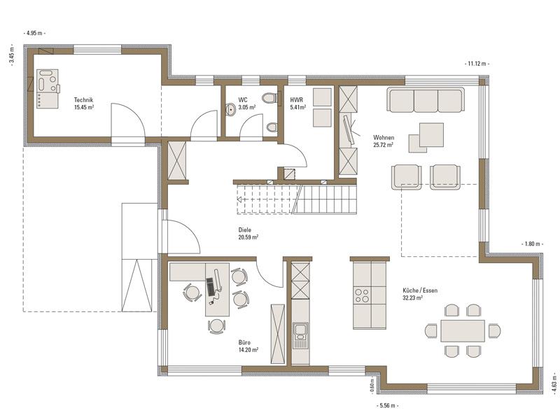 Grundriss Erdgeschoss Musterhaus Mannheim von Fertighaus Weiss