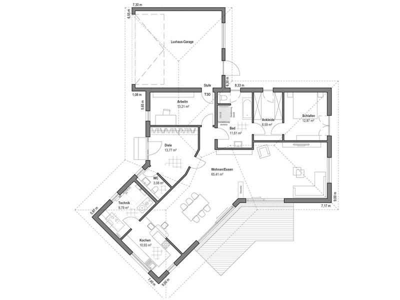 Grundriss Bungalow Walmdach 190 von Luxhaus