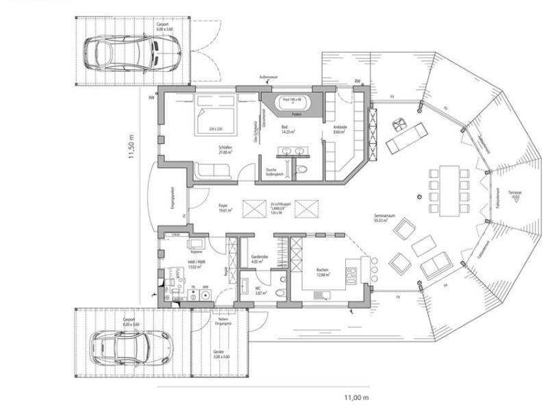 Grundriss Flachdach 153 von Luxhaus