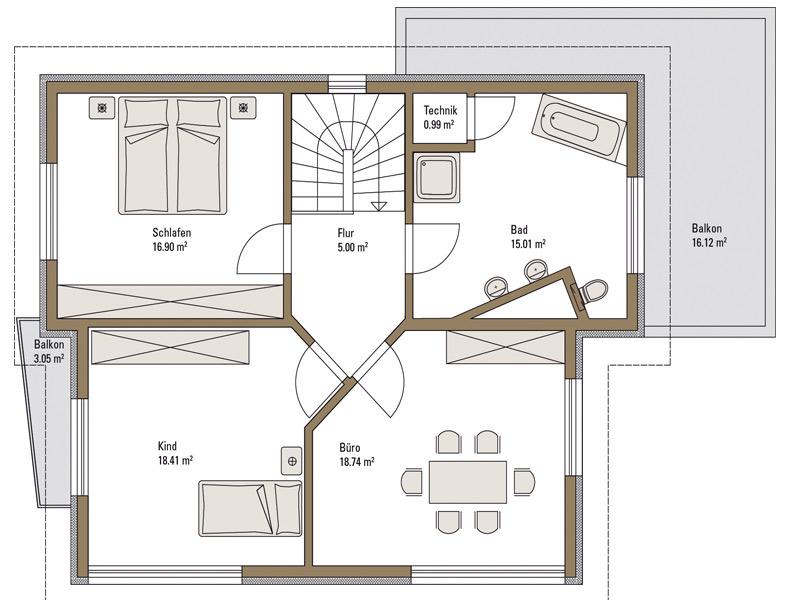 Obergeschoss Musterhaus Emotion Fertighaus Weiss