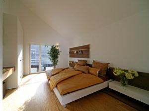 Schlafzimmer im Musterhaus Emotion