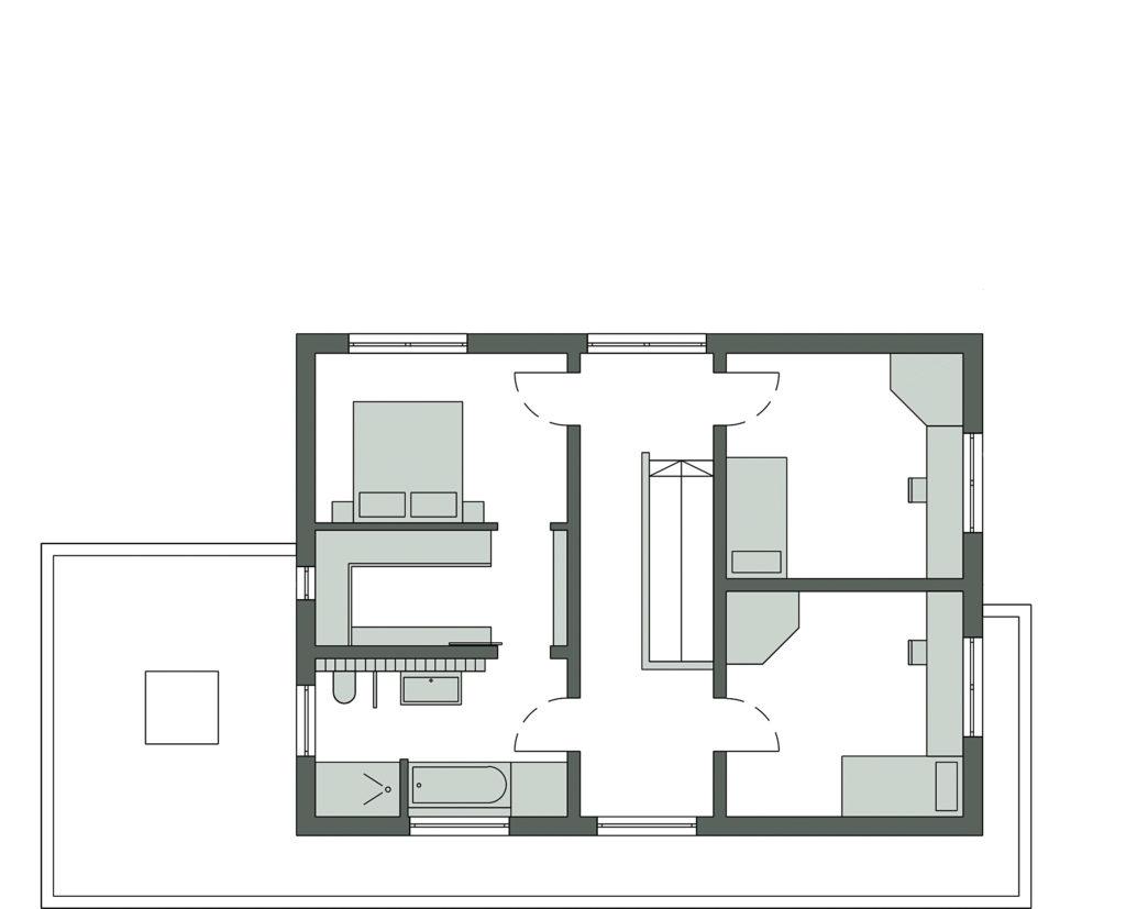 Musterhaus Ottendorf-Okrilla von SchwörerHaus. Grundriss Obergeschoss
