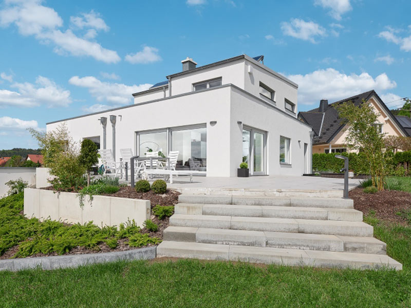 Luxhaus Pultdach Klassik 189 Terrasse