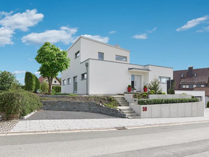 Luxhaus Pultdach Klassik 189 Strassenseite