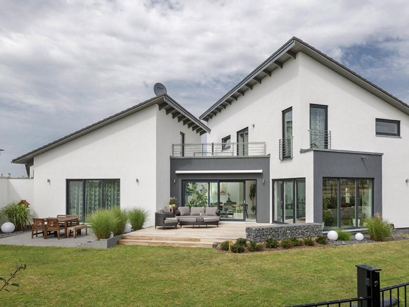 Luxhaus Pultdach Klassik 233 Terrasse