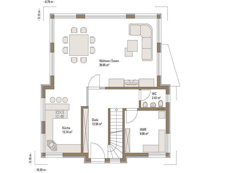 Grundriss Erdgeschoss Musterhaus Villingen-Schwenningen von Fertighaus Weiss
