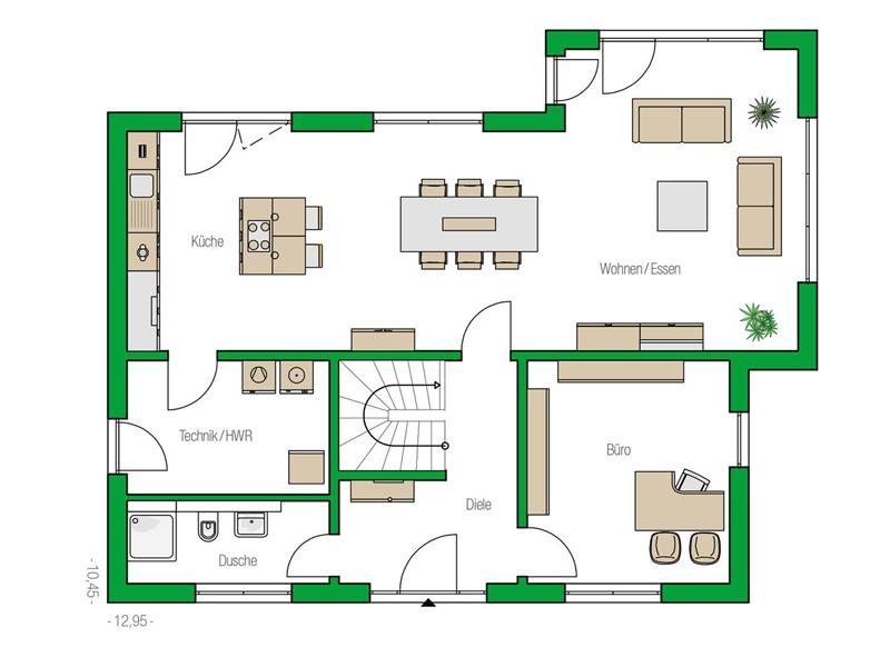 Grundriss Erdgeschoss Musterhaus Bad Vilbel Treviso von Helma
