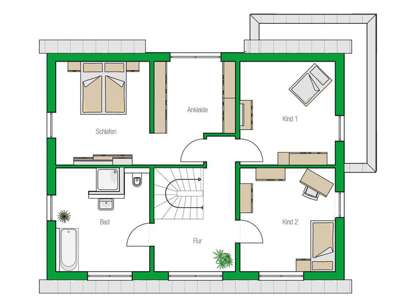 Grundriss Obergeschoss Musterhaus Bad Vilbel Treviso von Helma