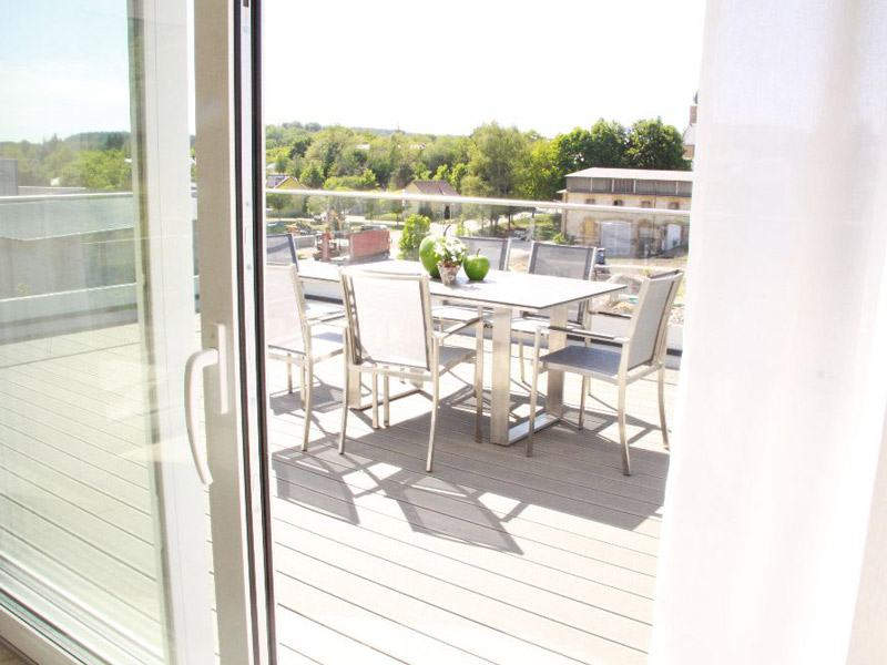 Balkon im Musterhaus Seegarten von Fischerhaus
