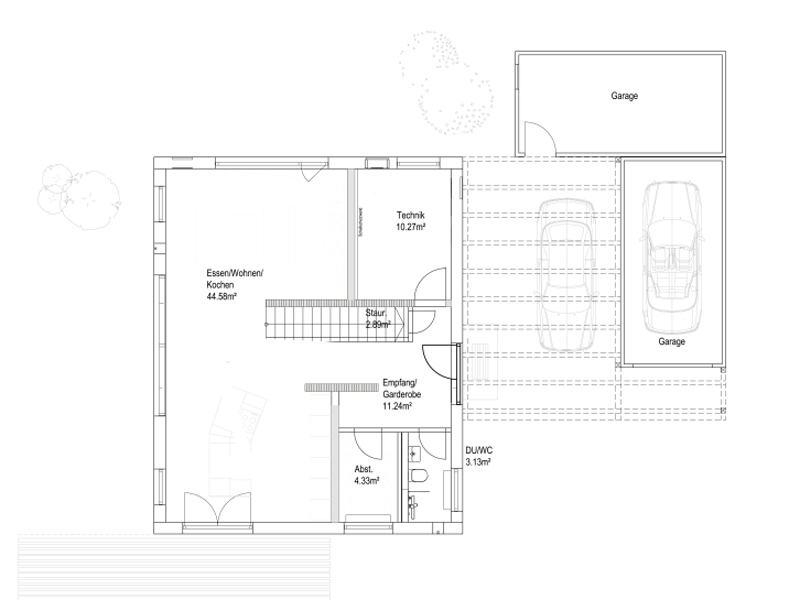Pultdach 138 von Luxhaus. Grundriss Erdgeschoss