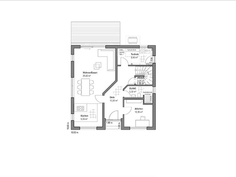 Walmdach 157 von Luxhaus. Grundriss Erdgeschoss
