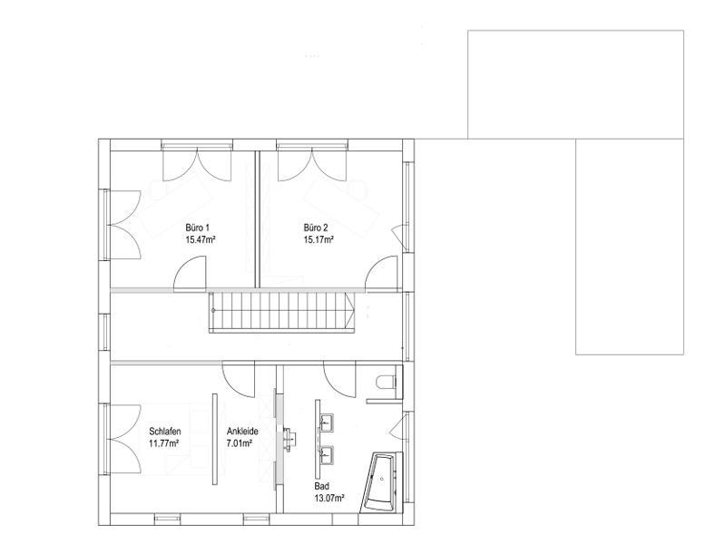 Pultdach 138 von Luxhaus. Grundriss Obergeschoss