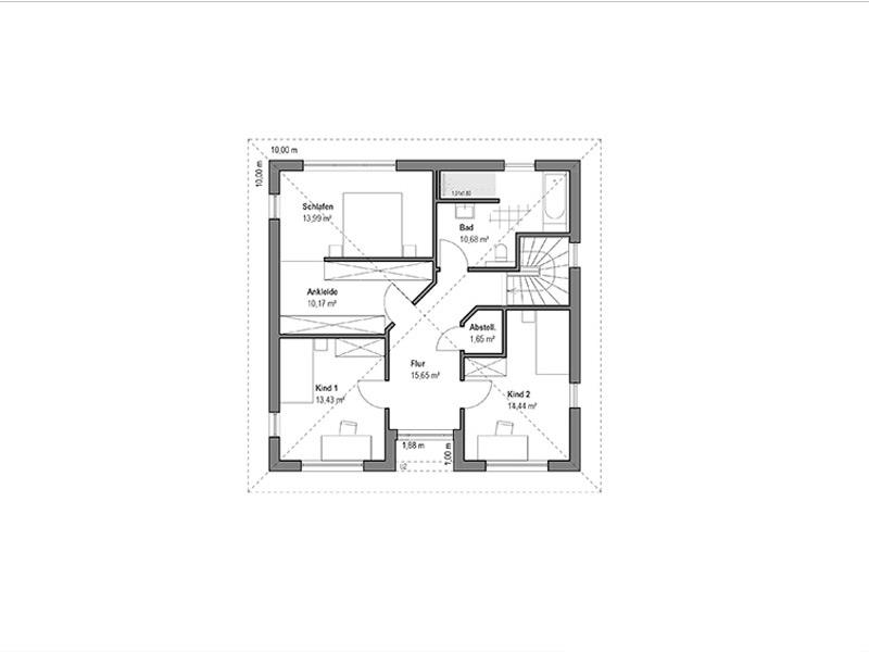 Walmdach 157 von Luxhaus. Grundriss Obergeschoss