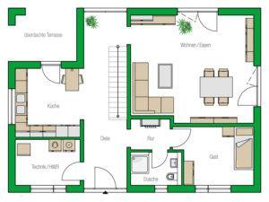 Grundriss Erdgeschoss Musterhaus Weimar