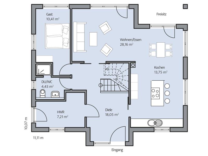 Haus Denker von Baumeister-Haus. Grundriss Erdgeschoss