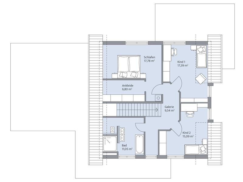 Haus Daume von Baumeister-Haus. Grundriss Obergeschoss