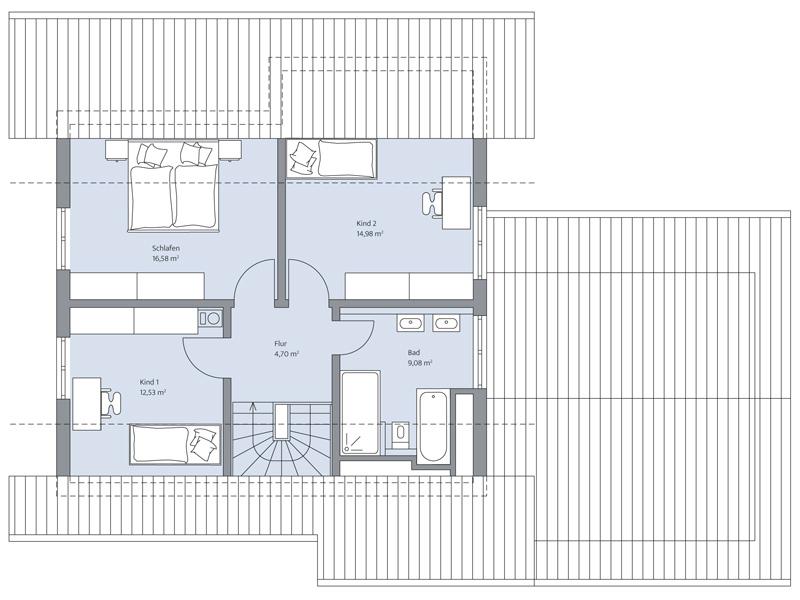 Haus Odenthal von Baumeister-Haus. Grundriss Obergeschoss
