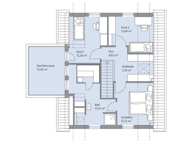 Haus Quistorp von Baumeister-Haus. Grundriss Obergeschoss