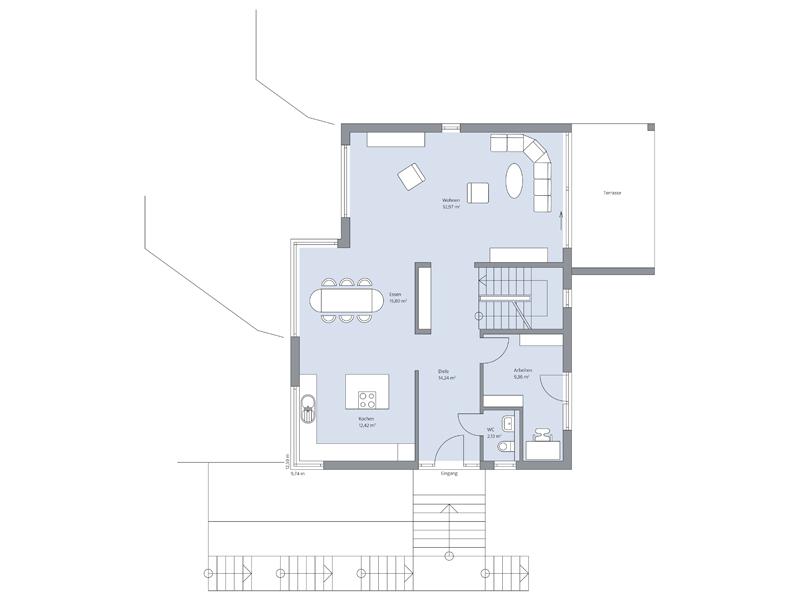 Haus Messerschmidt von Baumeister-Haus. Grundriss Erdgeschoss