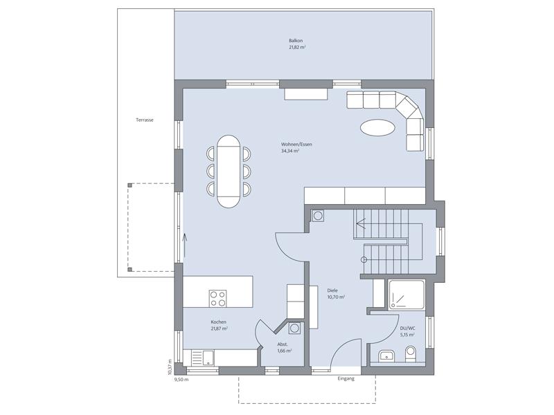 Haus Echterkamp von Baumeister-Haus. Grundriss Erdgeschoss