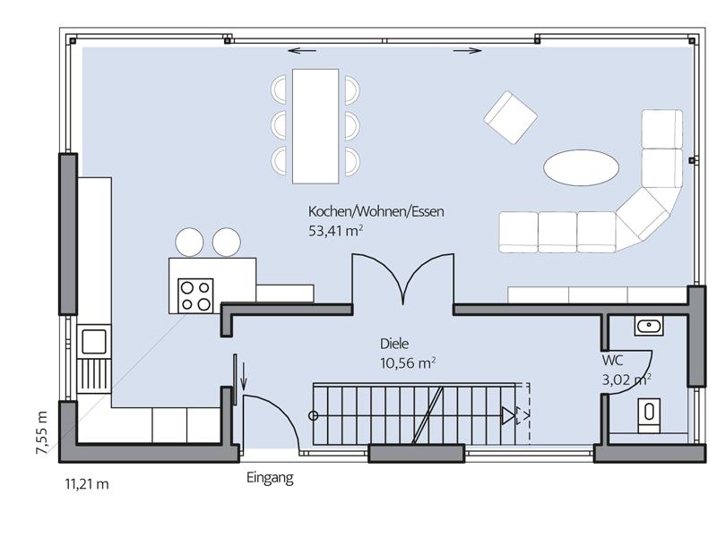 Haus Zacher von Baumeister-Haus. Grundriss Erdgeschoss