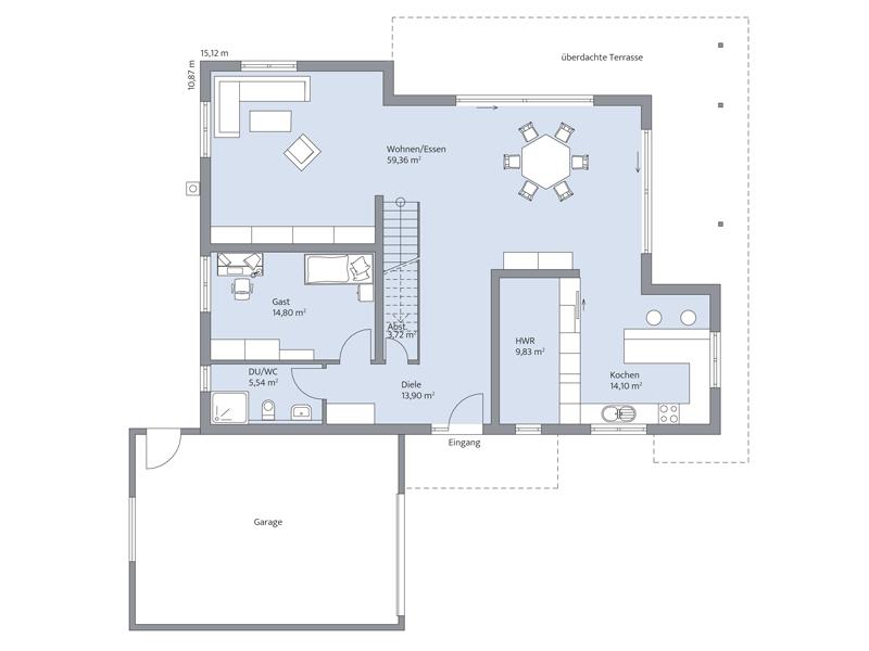 Haus Lehmann von Baumeister-Haus. Grundriss Erdgeschoss