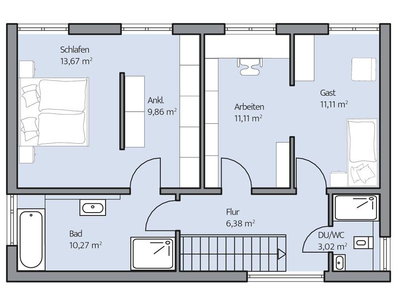 Haus Zacher von Baumeister-Haus. Grundriss Obergeschoss