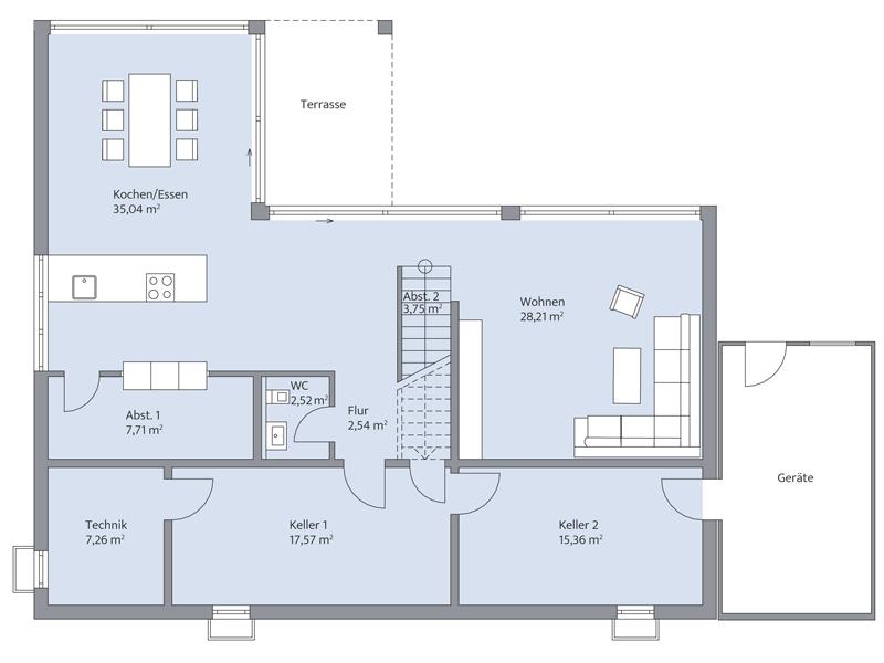 Haus Nolte von Baumeister-Haus. Grundriss Erdgeschoss
