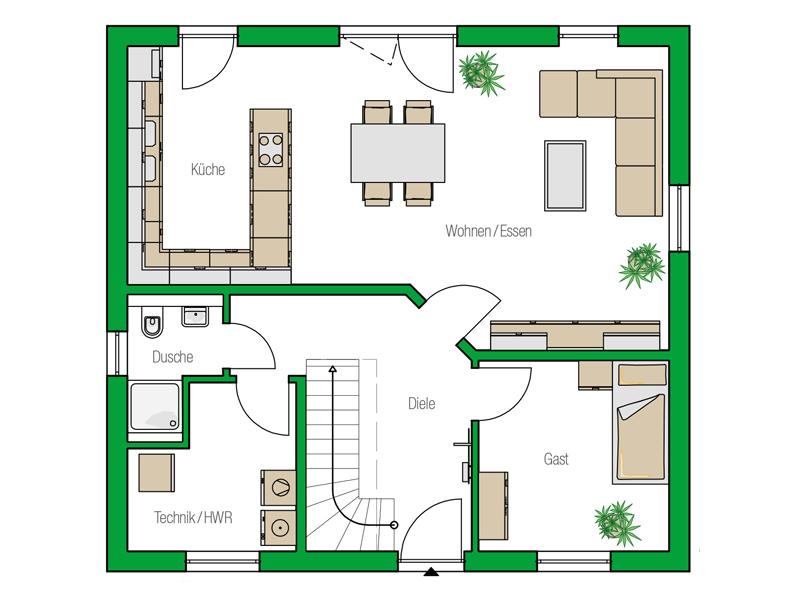 Haus Mailand von HELMA. Grundriss Erdgeschoss