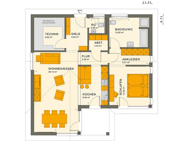 Grundriss Bungalow Living Haus SOLUTION 82