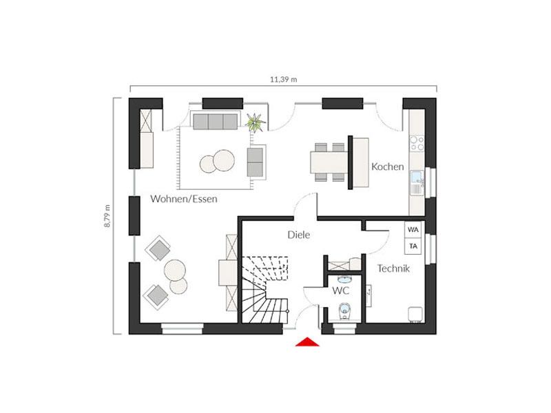 Grundriss Erdgeschoss Entwurf ProFamily 156/20 von Prohaus