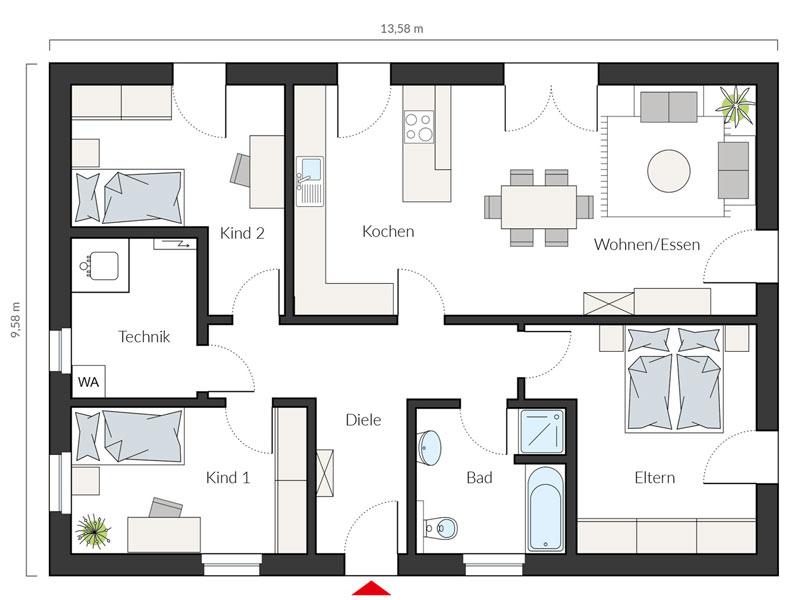 Grundriss Erdgeschoss Entwurf ProLife 105/20 von Prohaus