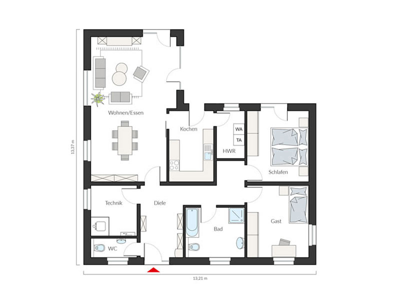 Grundriss Erdgeschoss Entwurf ProLife 117/20 von Prohaus