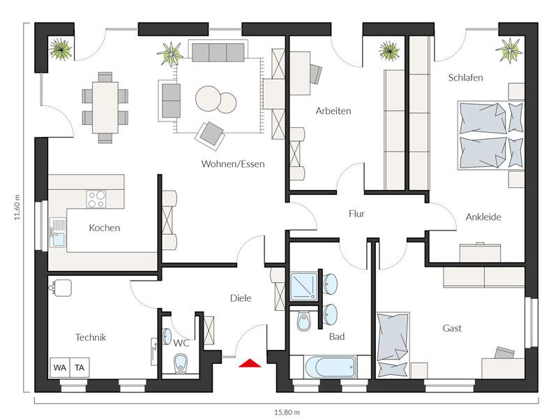 Grundriss Erdgeschoss Entwurf ProLife 151/20 von Prohaus