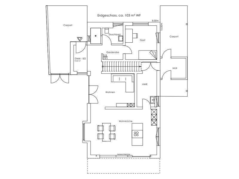 Vitalhaus Oberaudorf von Regnauer Hausbau. Grundriss Erdgeschoss