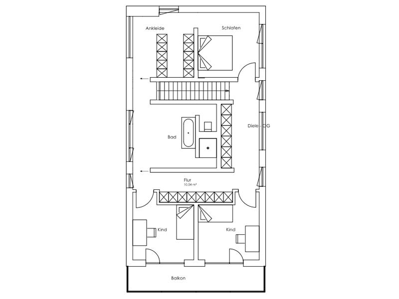 Vitalhaus Oberaudorf von Regnauer Hausbau. Grundriss Obergeschoss