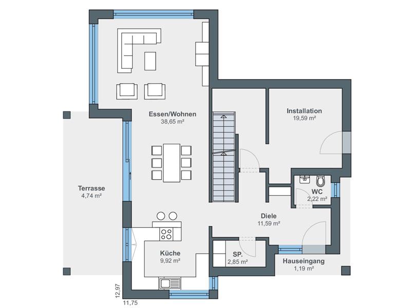 Villa Bauhausstil von Weberhaus. Grundriss Erdgeschoss
