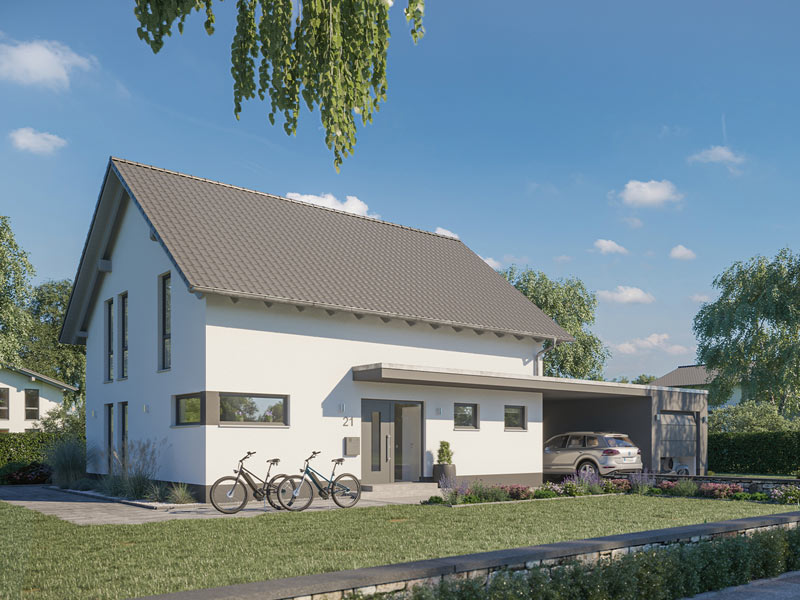 Frontseite des Familienhaus Melia von Kern-Haus mit Querfenstern und Garage