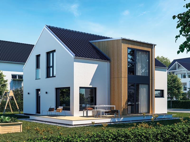 Haus Urban von Baufritz mit Flachdach-Querhaus