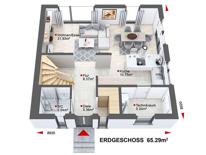 Grundriss Erdgeschoss Hauskonfigurator von DAN-WOOD Family