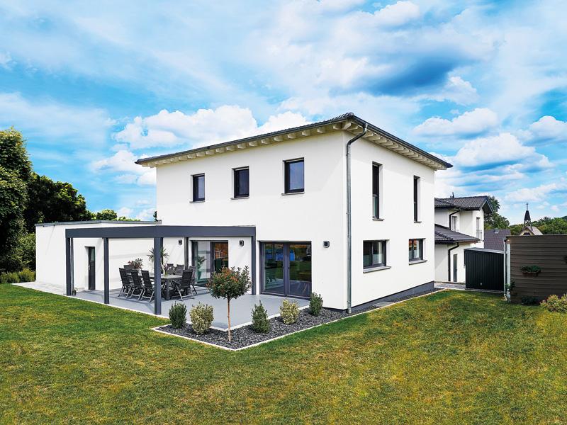 Haus Leicht Fertighaus Weiss Terrasse