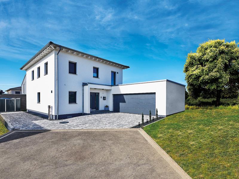Haus Leicht Fertighaus Weiss aussen Eingang