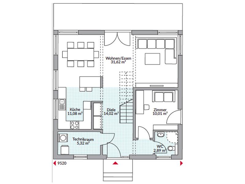 Grundriss Erdgeschoss Danwood Point 140 17