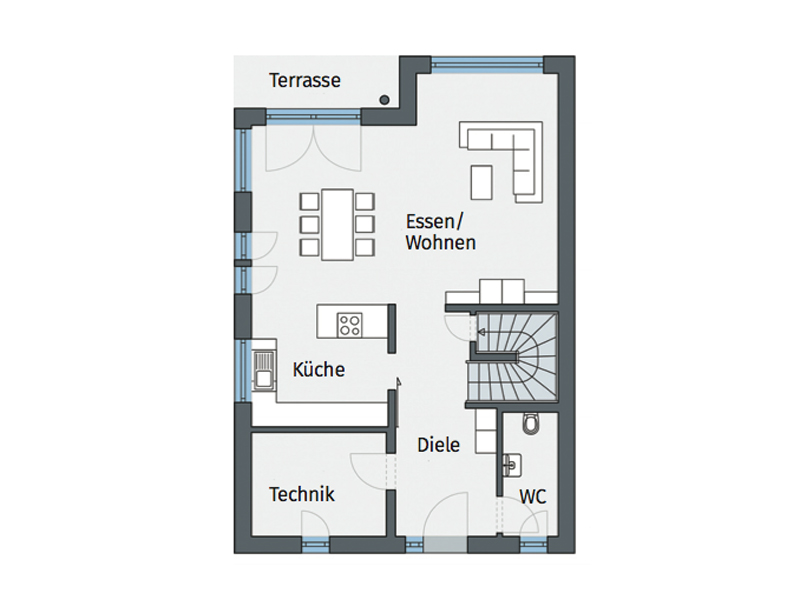 Grundriss Erdgeschoss Weberhaus Generationen-wohnen