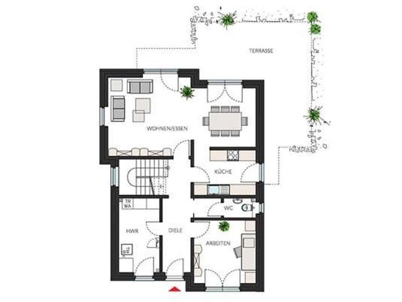 Grundriss Erdgeschoss ProStyle 141 von ProHaus