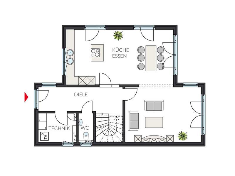 Grundriss Erdgeschoss ProStyle 145 von ProHaus