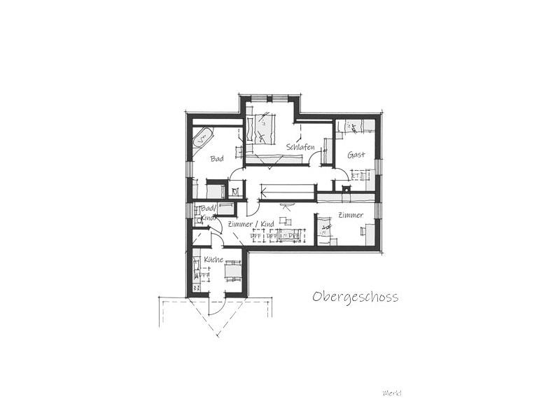 Grundriss Obergeschoss Haus Merkl von Wolf System
