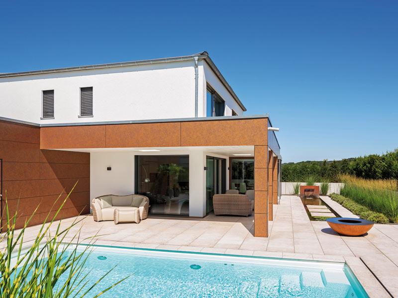 Kundenhaus Häußler von Baufritz Terrasse_Pool