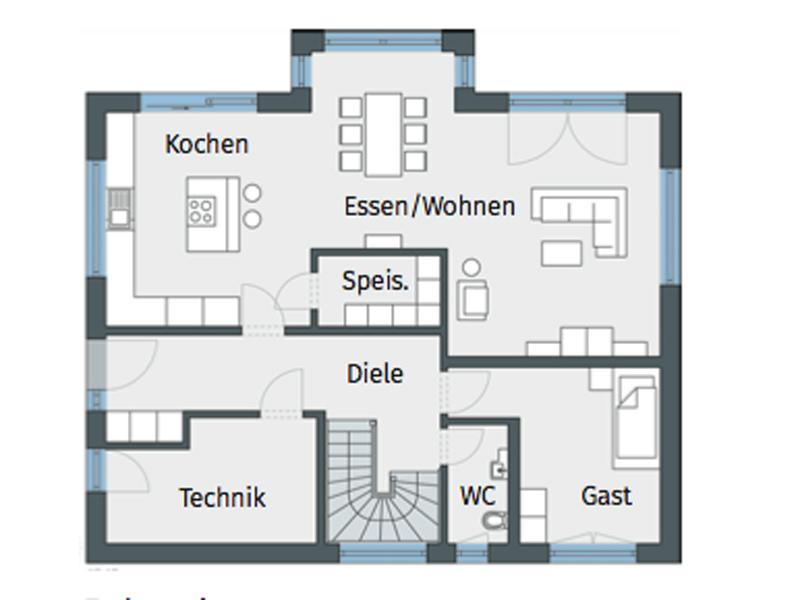 Grundriss Erdgeschoss Weberhaus Stadtvilla für zwei Kargneu