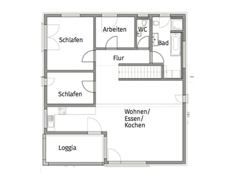 Grundriss Obergeschoss Fertighaus Weiss Dorstewitz